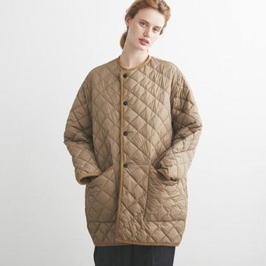 LADIES QUILTED NO COLLAR COAT OS NYLON