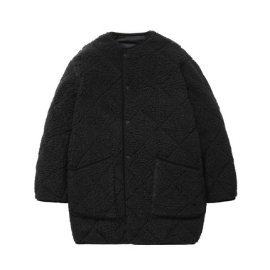 LADIES QUILTED NO COLLAR COAT OS BOA