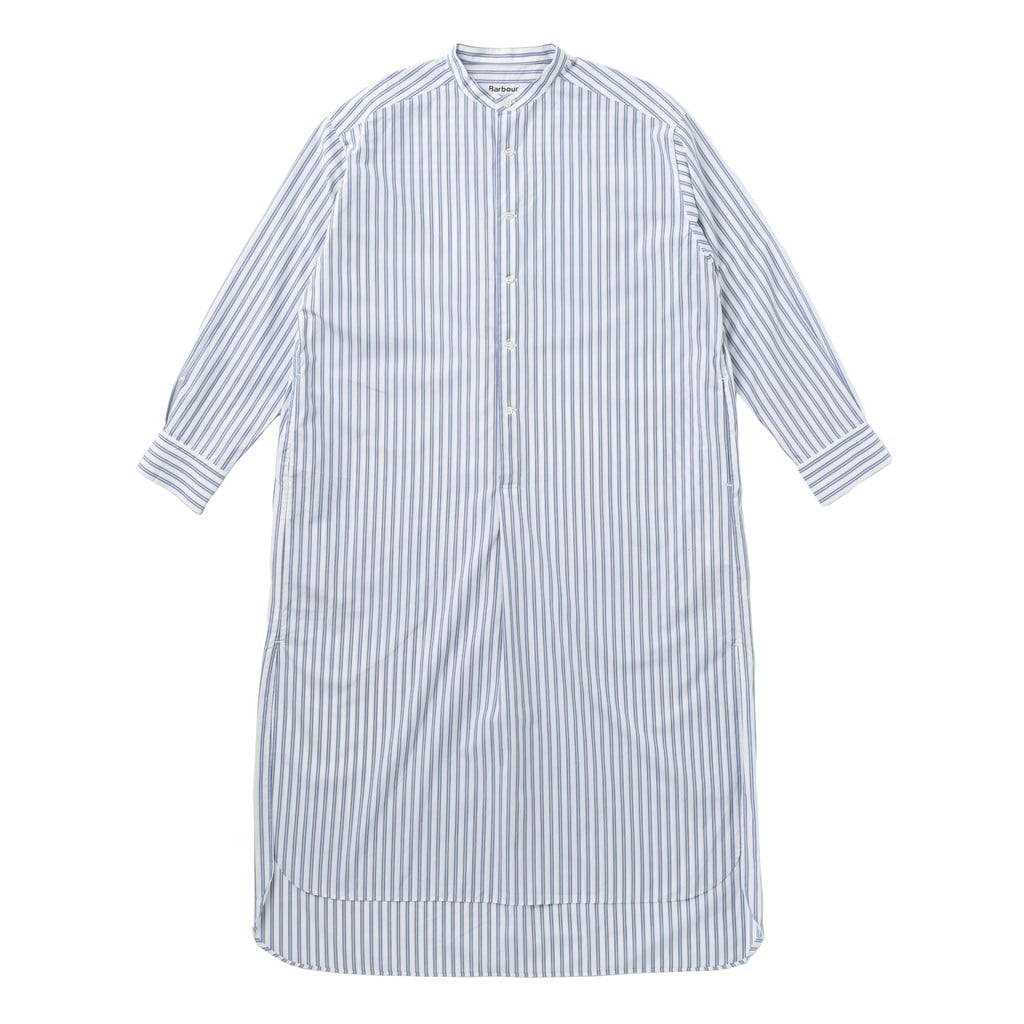 LADIES NO COLLAR LONG STRIPE SHIRT