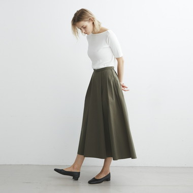 LADIES BOX PLEATED SKIRT C/N CHAMBRAY