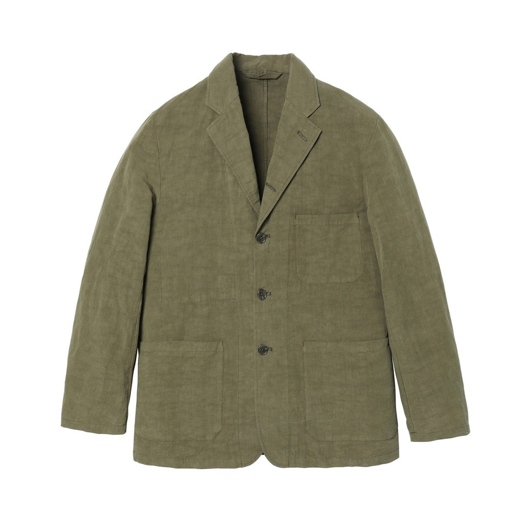 OVER DYED COTTON LINEN TAILORED JACKET
