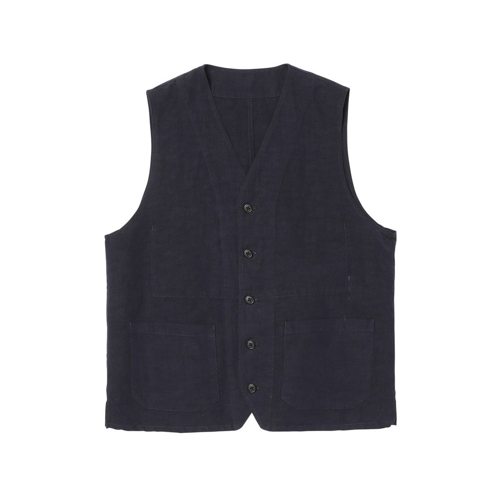 OVER DYED COTTON LINEN VEST