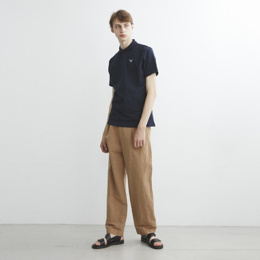 OVER DYED COTTON LINEN PLEATED TROUSERS