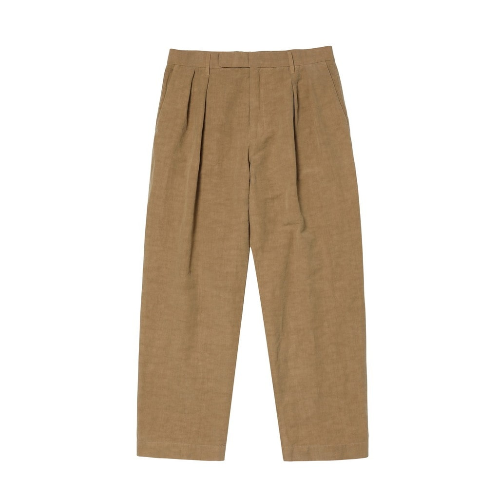 OVER DYE COTTON LINEN PLEATED TROUSERS