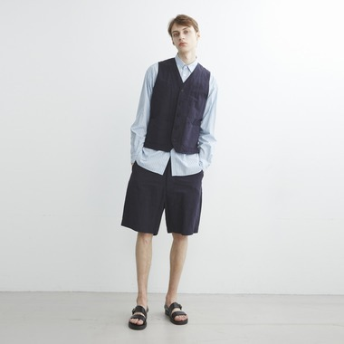 OVER DYED COTTON LINEN SHORTS